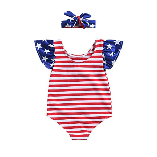 Monbebe Baby Girl 4th of July Star Stripe Flag Romper Summer Jumpsuit Bodysuit+Headband Outfits Clothes (Red Striped, 0-6 Months) (Shirt Flag Star)