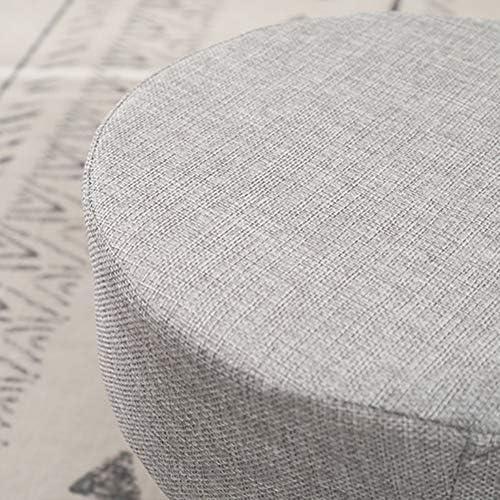 Tabouret de marchepied robuste et antidérapant en coton et lin, petit tabouret bas en bois rond, confortable et doux, chaise multifonctionnelle Gris