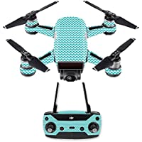 Skin for DJI Spark Mini Drone Combo - Turquoise Chevron| MightySkins Protective, Durable, and Unique Vinyl Decal wrap cover | Easy To Apply, Remove, and Change Styles | Made in the USA