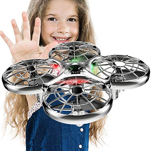 Kids Hand Operated Drones, SYMA X100 Quadcopter with Auto-Avoid Obstacles,Safety Covered by Shell,360°Flip, LED Light, 2 Speed for Kids, Boys and Girls Toys(Gray)