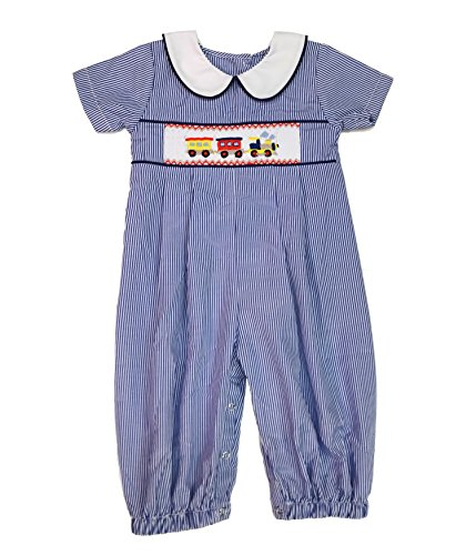 Blue and White Pinstripe Boys Longall with Train Smocking (24 months) (Button Smocked Front)