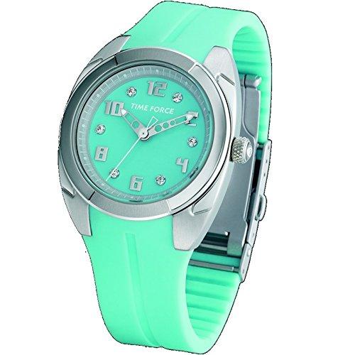 Reloj TIME FORCE de señora Sumergible. Acero. Caucho turquesa. TF-2908L03