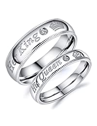 Iflytree 2Pcs Silver Stainless Steel His Queen & Her King Couples Rings Set Wedding Engagement Band for Him and Her