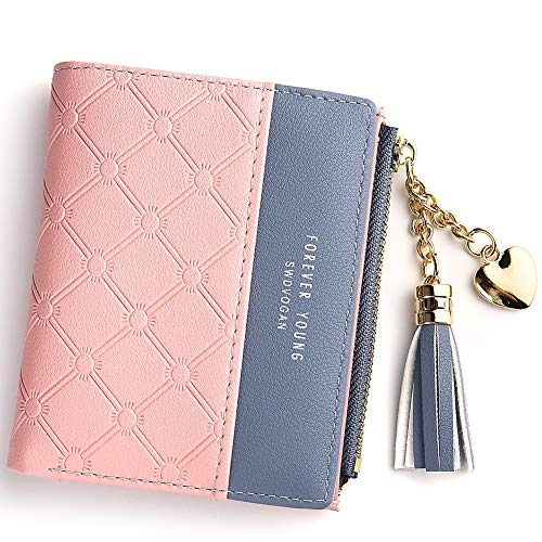 Wallet for Women Small Compact Wallet Bifold, RFID Wallet Credit Card Holder Mini Bifold Pocket Wallet (Pink)