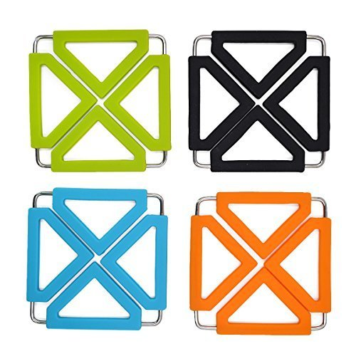 Good Bag Multipurpose Silicone Pot Holders Stainless Steel Kitchen Table Mats Pot Holders Trivet Hot Pads Mat Placemats -Set of 4 ()