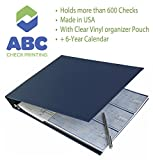 #7: Abc Durable 7-Ring 3 On A Page Business Check Book Binder, 600 Check Capacity, With Clear Vinyl Pouch Bill Keeper – Removable 6-Year Calendar