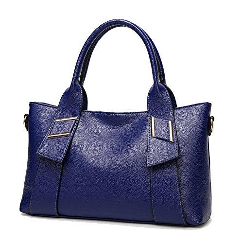 Large Capacity Bag Women Bag Pattern Fashion Wild Lychee Shoulder Bag Blue