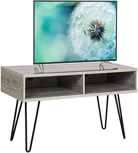 Best Choice Products 42in Hardwood TV Stand Media Console for Living Room w Built-in Grommet, Metal Hairpin Legs – Gray