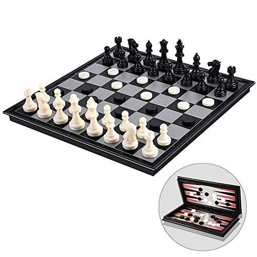 TOOGOO Juego de Ajedrez MagnéTico para Ni?Os y Adultos con 3 en 1 Chess Checkers y Backgammon,Juegos de Ajedrez…