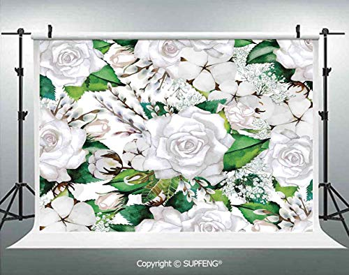 Background Watercolor Artsy Design of Roses Meaning New Beginning or Farewell Innocence Symbol 3D Backdrops for Interior Decoration Photo Studio Props]()