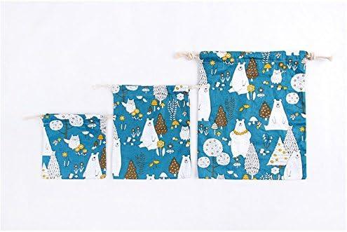 19/x 25/cm 25/x 32/cm BIGBOBA Piece of Canvas Print Polar Bear Pattern Storage Bag Drawstring Organisers Drawstring Bags Pack of 3/Environmental Protection Travel Shopping Bag 14/x 16/cm
