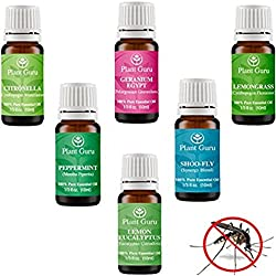 Insect Repellent Essential Oil Set Variety - 6 Pack Bugs & Mosquito 100% Pure Therapeutic Grade 10 ml. Set Includes Citronella, Lemongrass, Lemon Eucalyptus, Geranium, Peppermint and Shoo Fly Blend.