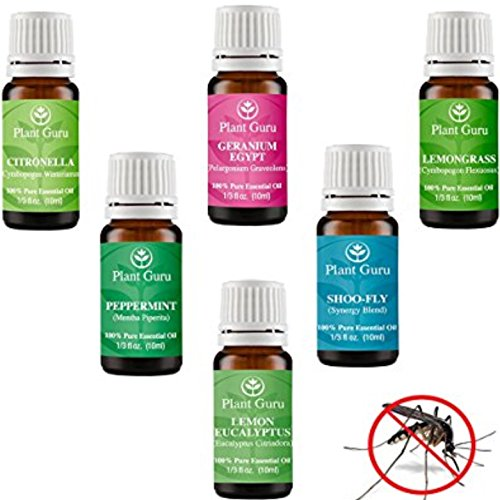 Insect Repellent Essential Oil Set 6-10 ml Bugs & Mosquito 100% Pure Therapeutic Grade Includes Citronella, Lemongrass, Lemon Eucalyptus, Geranium, Peppermint and Shoo Fly Blend.
