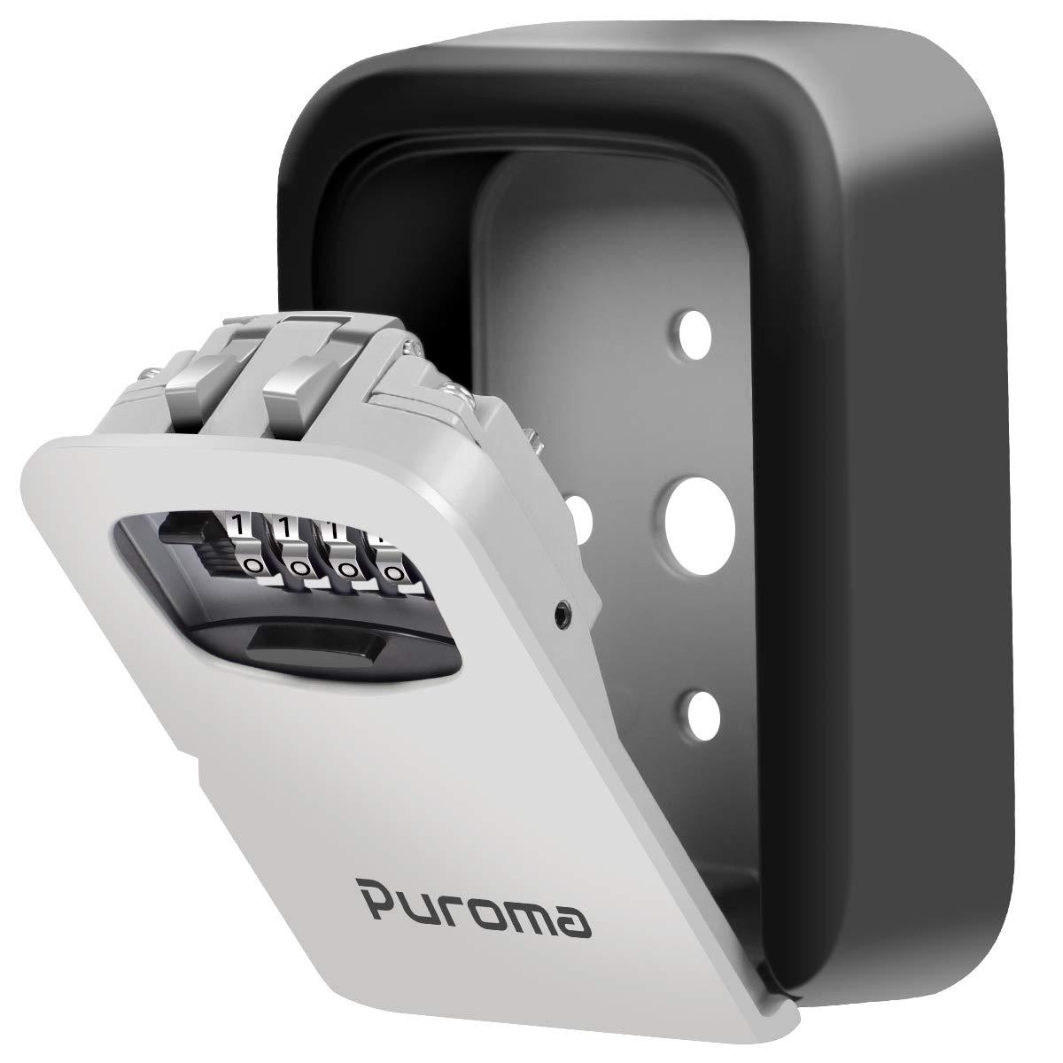 Puroma Key Lock Box, 4-Digit Combination Wall Mount Storage Lockbox 5 Key Large Capacity for House Key, Special Car Key, ID Card by Puroma