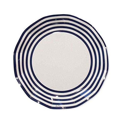(Sophistiplate 41Jy2 Classic Paper Dinner Plates, Navy Stripe (Pack of 20))