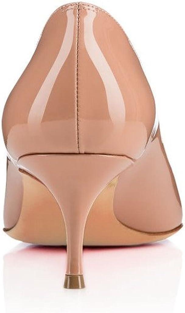 FSJ Women Classic Kitten Heels Pointy Toe Pumps Office Ladies Dress Shoes Size 11 Nude