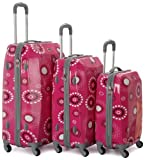 Rockland Luggage Vision Polycarbonate 3 Piece Luggage Set, Pink Pearl, One Size, Bags Central