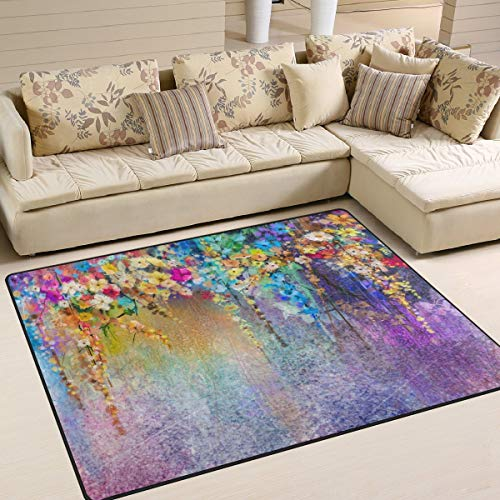 Large Area Rugs - Watercolor Painting Abstract Floral Area Rug for Living Room Bedroom 5'3 x 4', Home Decor Floor Mats Contemporary Runner Area Rug for Living Room Bedroom Dinning Room