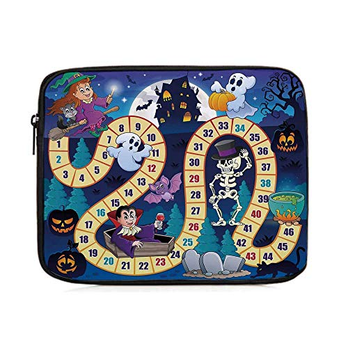 Board Game,Halloween Theme Symbols Happy Witch Girl Vampire Ghost Pumpkins Happy Comic,One Size