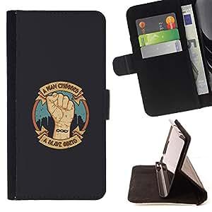 BullDog Case - FOR/Sony Xperia Z2 D6502 / - / A Man Chooses - A Slave Obeys /- Monedero de cuero de la PU Llevar cubierta de la caja con el ID Credit Card Slots Flip funda de cuer