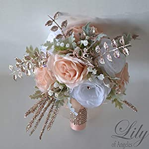 Wedding Bouquet, Bridal Bouquet, Bridesmaid Bouquet, Silk Flower Bouquet, Wedding Flower, rose gold, rosegold, blush, white, Lily of Angeles 86