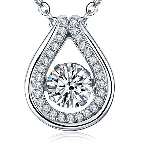 YL Teardrop Necklace Sterling Silver Dancing Diamond Halo Pendant Cubic Zirconia Jewelry Diamond Teardrop Pendant Chain