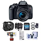 Canon EOS Rebel T7i DSLR EF-S 18-55mm f/4-5.6 IS STM Lens - Bundle Camera Case, 16GB SDHC Card, 58mm Filter Kit, Screen Protector, Cleaning Kit, Memory Wallet, Mac Software Package