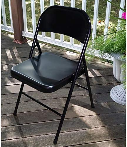Plastic Development Group 703 Indoor Outdoor Patio Dining Room Metal Steel Folding Fold Up Party Chair, Black