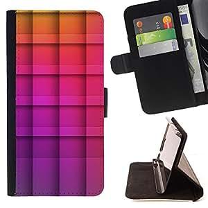 BullDog Case - FOR/HTC One M7 / - / polygon purple yellow checkered pattern /- Monedero de cuero de la PU Llevar cubierta de la caja con el ID Credit Card Slots Flip funda de cuer