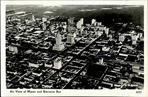 Air View Of Miami And Biscayne Bay Miami, Florida Original Vintage - Biscayne Miami Bay