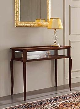 Console de salon classique en bois, présentoir, coloris Blanc ...