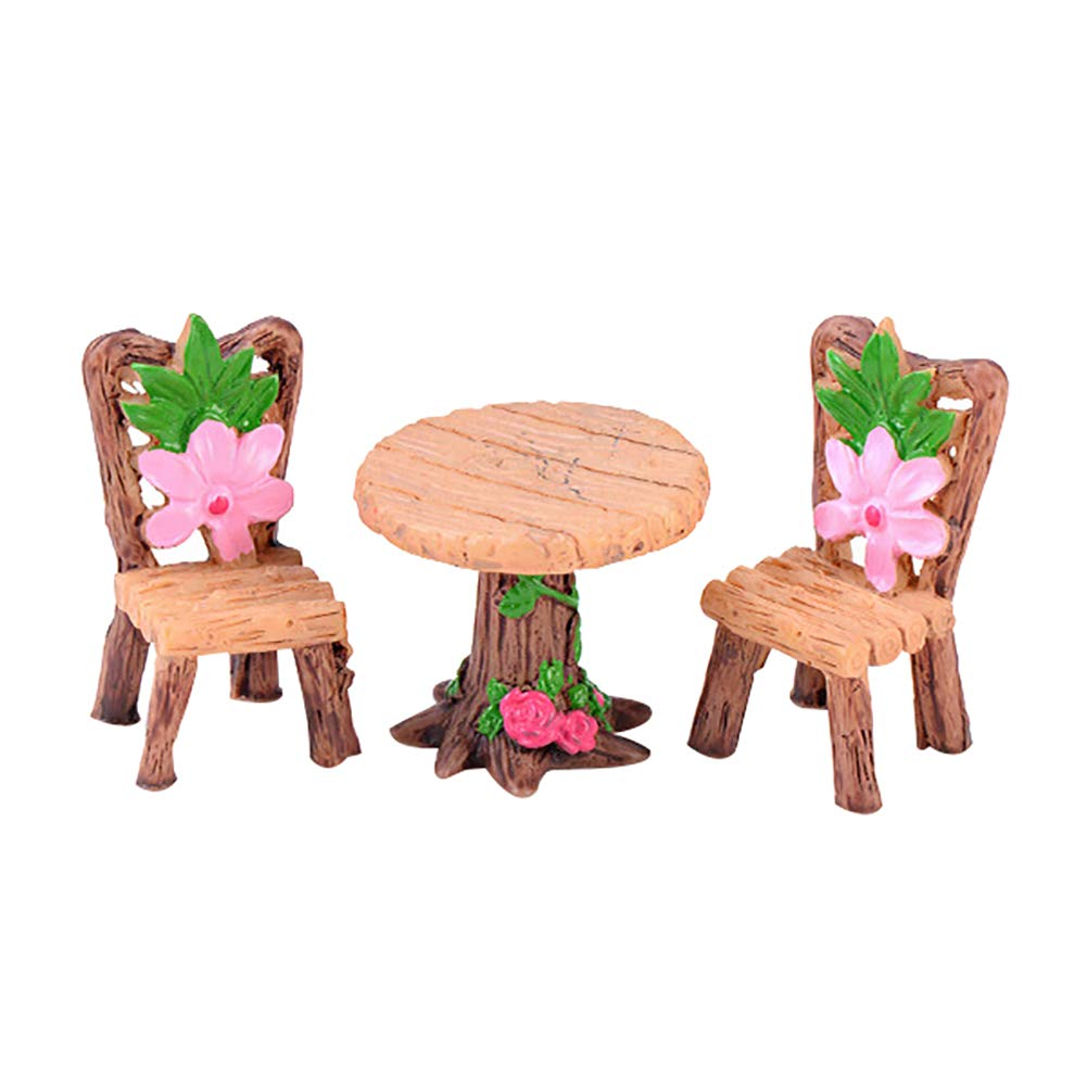 Finance Plan The Latest 3Pcs/Set Cute Table Chair Micro Landscape Ornament Fairy Garden Miniature Decor 1#