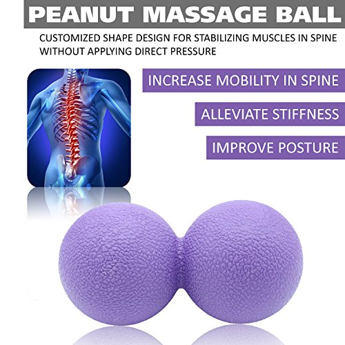 Massage Ball Set for Deep Tissue Recovery, Trigger Point Therapy, Myofascial Release, Muscle Knots, Mobility MOD, Plantar Fasciitis- 5'' Foam Roller Ball, Peanut Double Ball, Spiky Balls, Lacrosse Ball by GURUNESS FITNESS (Image #3)