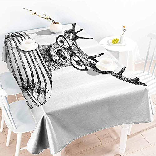 - Fabric Dust-Proof Table Cover Deer Decor Collection Dressed Up Deer Reindeer Headed Human Hipster Style with Glasses Striped Shirt Design Black White Party W60 xL84
