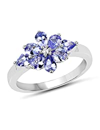 Genuine Pears Tanzanite and White Topaz Ring in Sterling Silver - Size 8.00