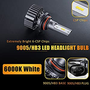 9005/HB3 LED High Beam Headlight Bulbs Conversion Kit, DOT Approved, SEALIGHT S1 Series 9145/H10 Fog Light Bulbs - Xenon White 6000K