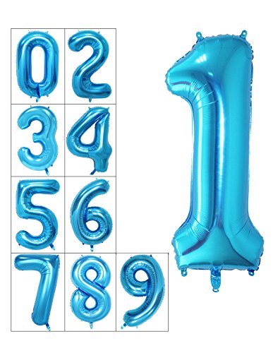 40 Inch Numbers 0-9 Helium Foil Digital Mylar Balloons for Birthday Party (1, Blue)