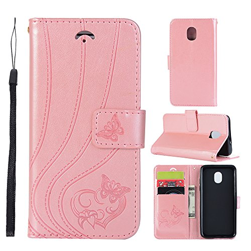 TOTOOSE Samsung Galaxy J4 2018 Wallet Multi Card Holder Cellphone Case Leather Covers Folio PU Leather Cover With Leather Covers Case For Samsung Galaxy J4 2018 - Rose Gold