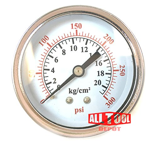 Best in USA 2.5'' Air Pressure Gauge Center Back Mount 1/4'' NPT 2-1/2'' Dial - 0 to 300 PSI by Best Music Posters