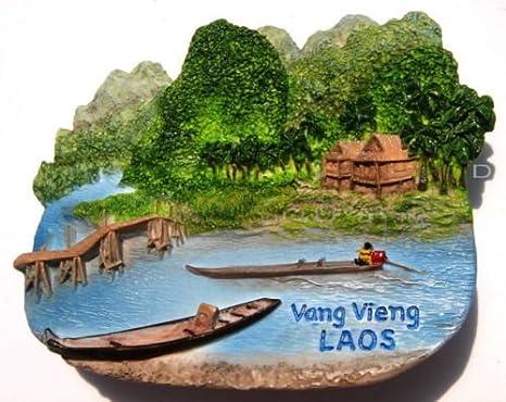 WORLD TOURIST SOUVENIR FAVORITE 3D FRIDGE MAGNET MAGNETIC-VANG VIENG LAOS