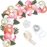 R HORSE 123 Pcs Balloon Arch Garland Kit Pink, Light Rose Red, Rose Gold, White, Pearlescent Colors Confetti Balloons Decorating Strip Glue Dots for Wedding Party Baby Shower Graduation Decorations