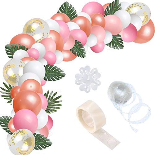 123 Pcs 16 Ft Balloon Arch Garland Kit, Light Rose Red, Rose Gold, White, Pearlescent Colors Confetti Balloons Decorating Strip Glue Dots for Wedding Party Baby Shower Graduation - Gold Leaf 16