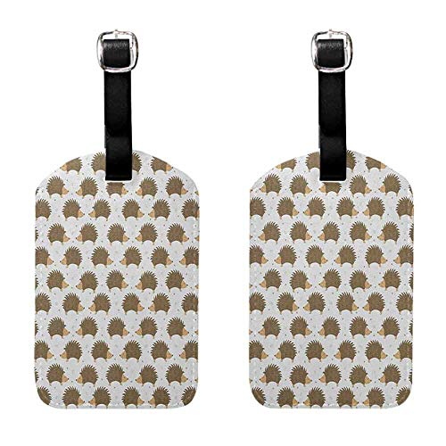 Caramel Brown Swirl - Women's Luggage Tag Hedgehog,Cartoon Style Porcupine Mascots with Tiny Little Swirls and Leaves, Caramel Pale Brown White Baggage Suitcase 1 Piece