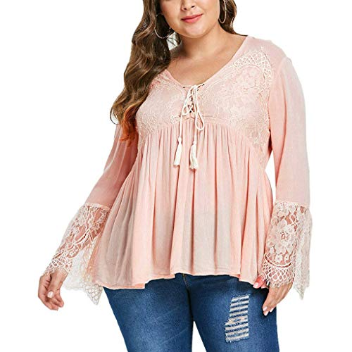 Price comparison product image TIANRUN Women's Plus Size Solid Casual V-Neck Lace Stitching Flare-Sleeved Shirt