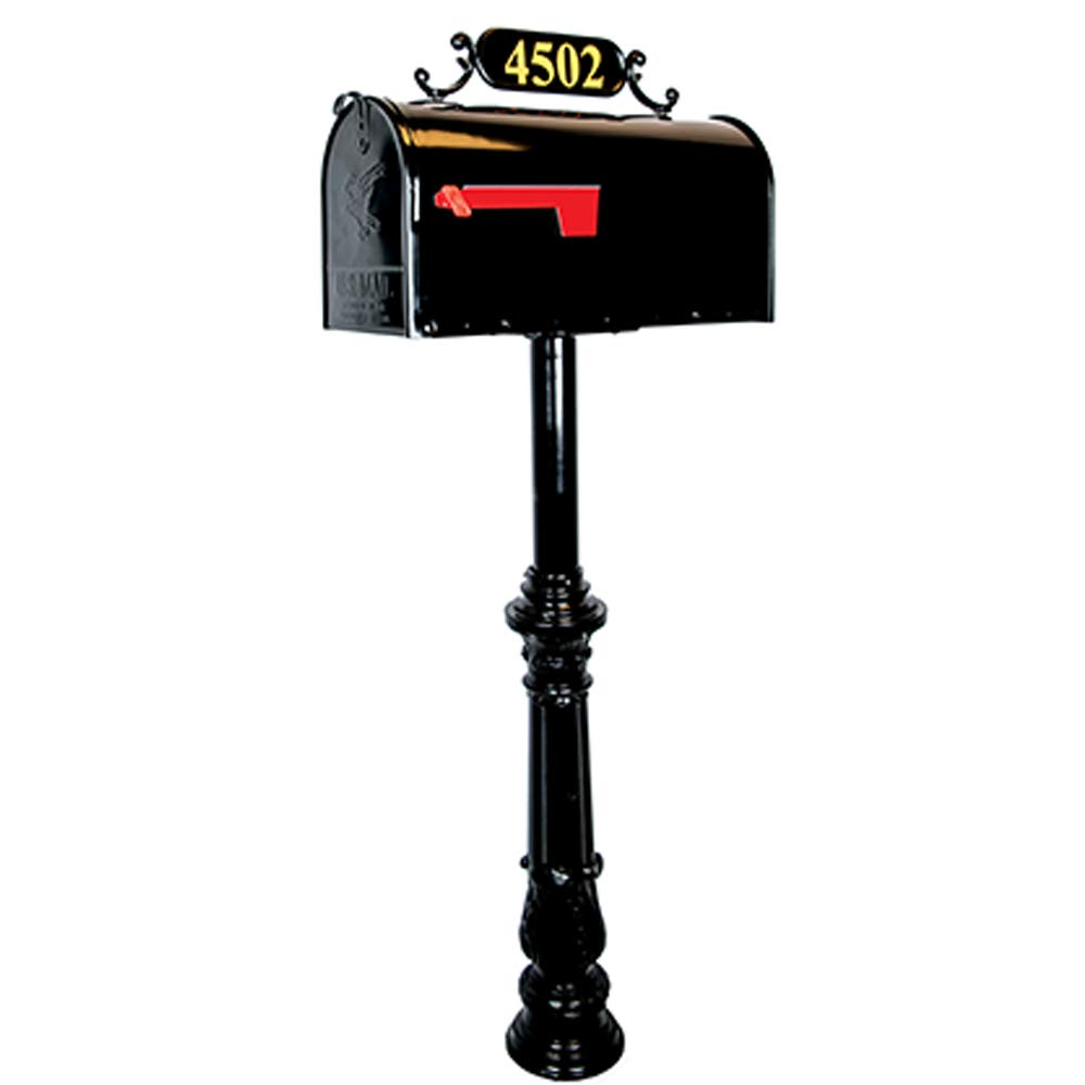 Addresses of Distinction Jefferson Standard Mailbox & Post System – Black Rust Resistant Mailbox – Includes Address Plaque, Numbers, Mounting Hardware – Metal Mailbox with Decorative Post