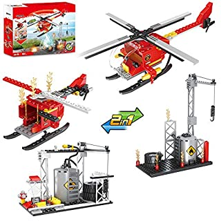 Olimond Toys City Fire Helicopter Building Blocks, Fire Station Rescue Tower with Fire Brigade, City Fire Station Sets, Fire Fighter, 2 in 1 (164PCS)