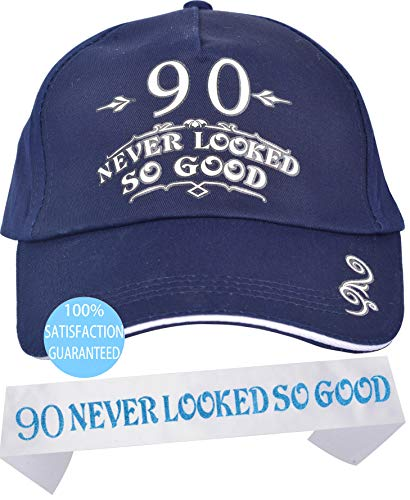 90th Birthday Gift for Men, 90th Birthday Gifts for Father, 90th Birthday Caps and Sash, Happy 90th Birthday Party Supplies, 90th Birthday Party Decorations, 90th Birthday Party Ideas