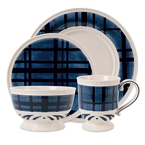 Bristol Collection, 4 Piece Tartan Dinnerware Set, White/Blue ()