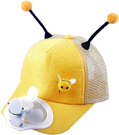 Gorra de Beisbol para niños con Abanico,Verano Gorra de béisbol con Ventilador para niñas Sombrero de protección Solar de Sombra de Carga USB 2-8 años (Amarillo): Amazon.es: Ropa y accesorios
