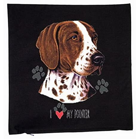 English Pointer perros 40 x 40 cm Cojín funda en negro ...
